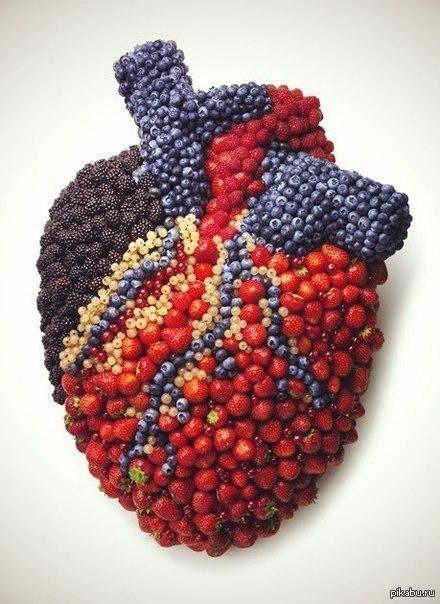 Ягодное сердце или летний реализм трипофобы, осторожно!  сердце, ягоды, лето, вкусняшки, Трипофобия