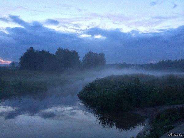 А у нас сегодня туманом все накрыло   туман, Река, подмосковье, загорянск, Фото