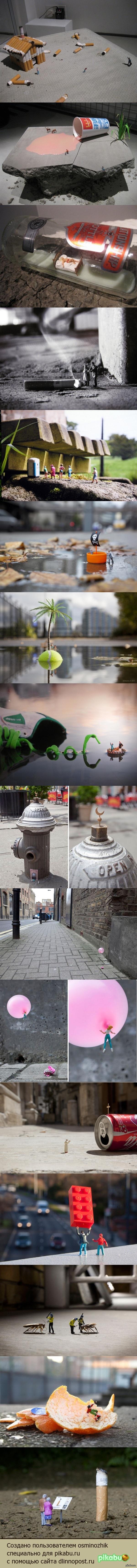 Уличные фото инсталляции Фотограф расставил маленькие фигурки людей по улицам родного Лондона и оставил их, предоставив судьбу маленьких людей большому городу.  длиннопост, инсталляция, уличная фотография, маленький мир