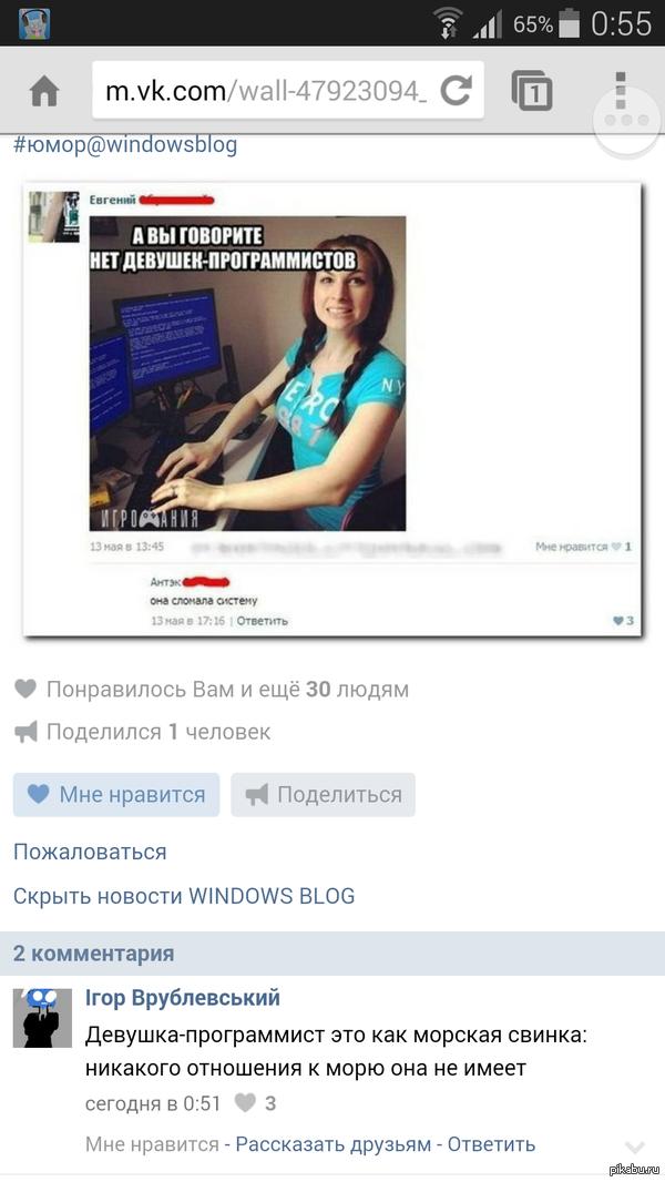 Комментарии радуют   ВКонтакте, Комментарии, девушки, Программисты