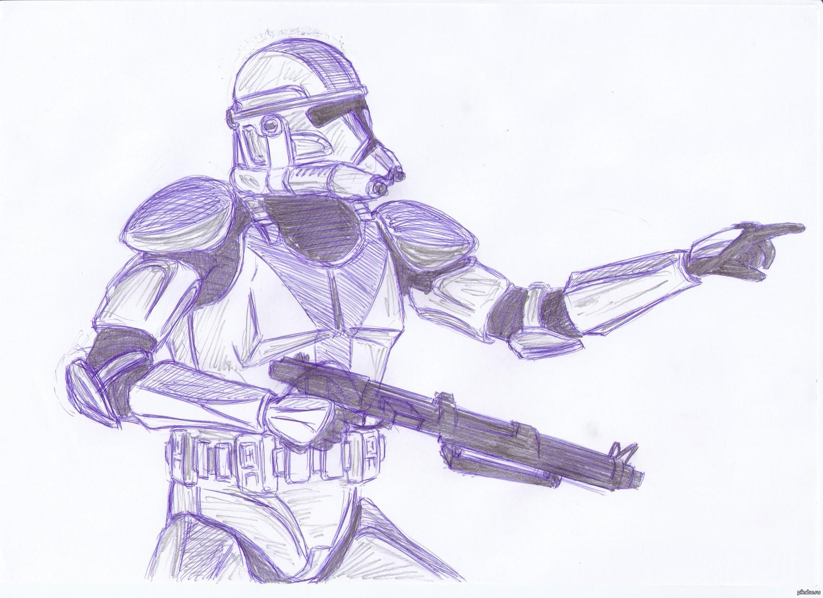 Нарисовать поэтапно война клонов