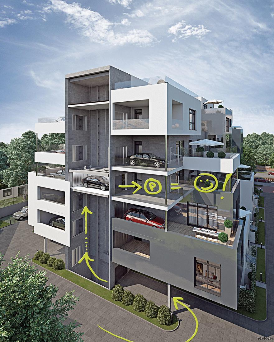 Архитектура: парковка у себя на балконе - транспорт на новос.